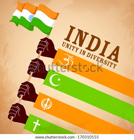 illustration of hands of different religion showing Unity in Diversity - stock vector