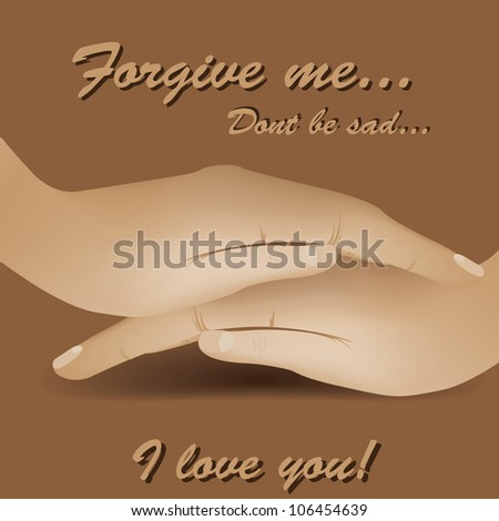 Illustration of 2 hands on each other - stock vector