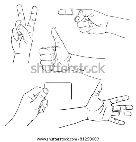 illustration of hands showing different signs - stock vector
