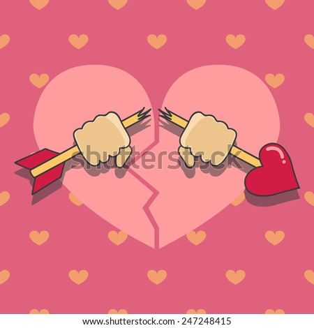 Illustration of hands with broken arrow on heart seamless pattern - stock vector