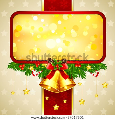 illustration of hanging bell with star in christmas card - stock vector