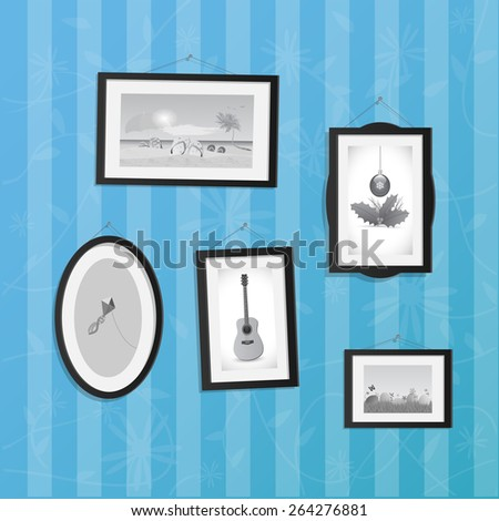 Illustration of hanging frames with pictures on a colorful background. - stock vector