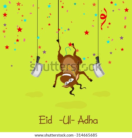 Illustration of hanging goat with choppers on colorful stars decorated green background for Islamic Festival of Sacrifice, Eid-Ul-Adha celebration. - stock vector