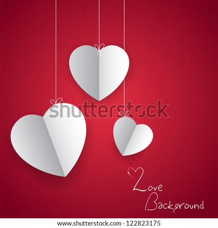 illustration of hanging paper heart in love background - stock vector