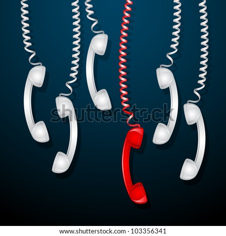 illustration of hanging red telephone receiver among white receivers - stock vector
