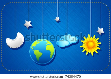 illustration of hanging sun,moon,earth and stars