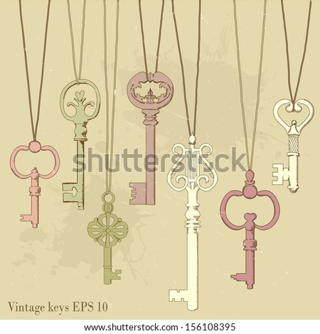 illustration of hanging vintage keys.