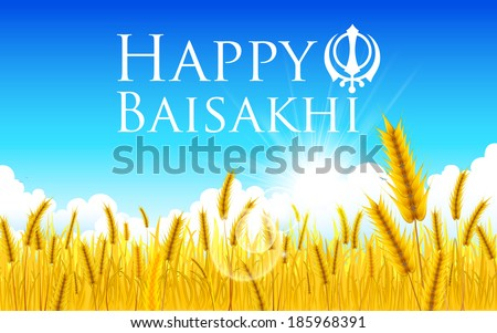 illustration of Happy Baisakhi background with paddy field - stock vector