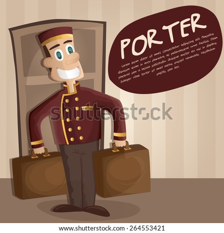 Illustration of happy Bellman (a hotel porter) with luggage in hotel   - stock vector