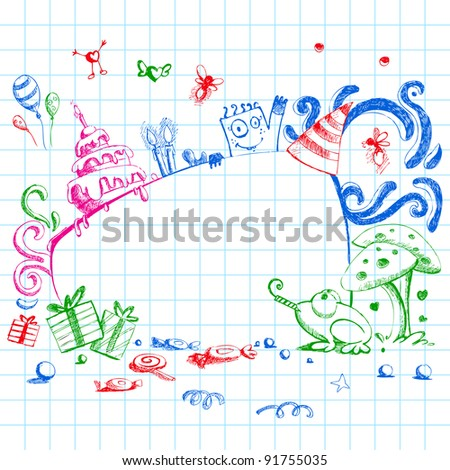 illustration of happy birthday card in doodle style - stock vector