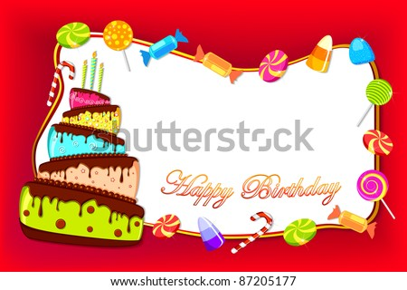 illustration of happy birthday card with colorful cake and sweet candies - stock vector