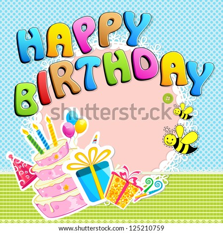 illustration of happy birthday text with scrapbook element
