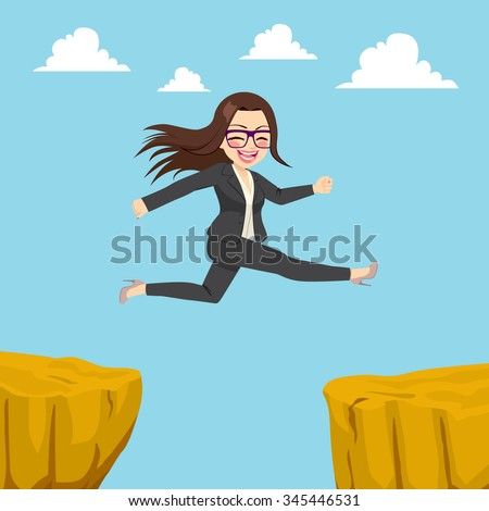Illustration of happy businesswoman jumping through cliff gap concept - stock vector