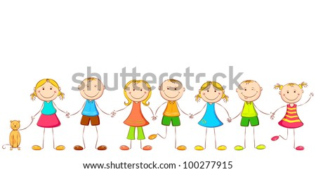 illustration of happy children holding hand of each other - stock vector
