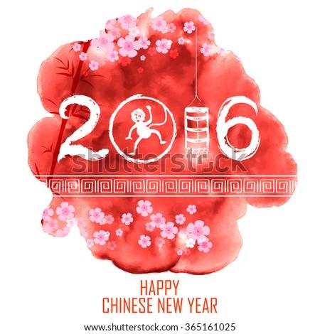 illustration of Happy Chinese New Monkey Year 2016 celebration background - stock vector