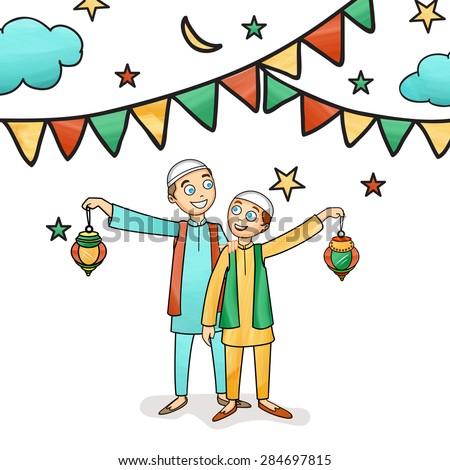 Illustration of happy cute kids celebrating and enjoying on occasion of islamic holy month, Ramadan Kareem celebration. - stock vector