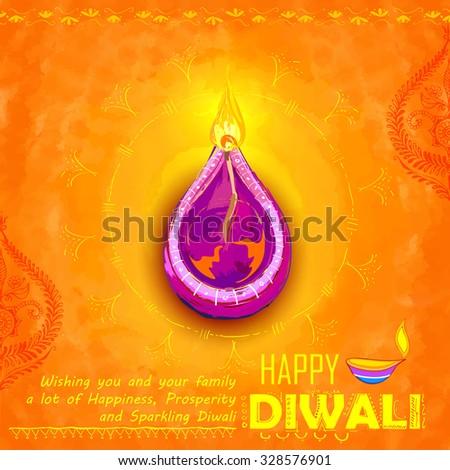 illustration of Happy Diwali background colorful watercolor diya - stock vector