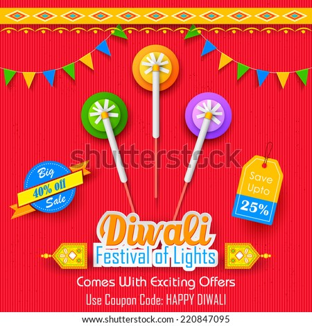 illustration of Happy Diwali Background for advertisement and promotion - stock vector