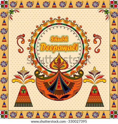 illustration of Happy Diwali background with diya and firecracker with message Shubh Deepawali (Happy Diwali) - stock vector