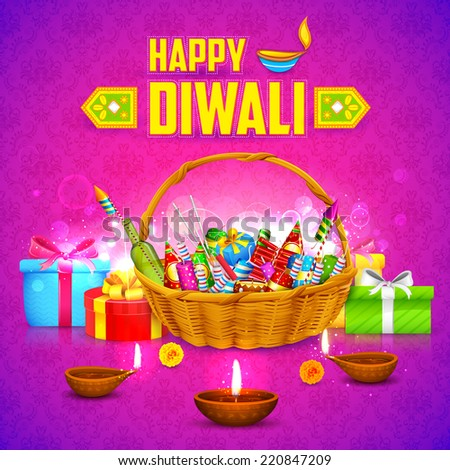 illustration of Happy Diwali Background with firecracker and diya - stock vector