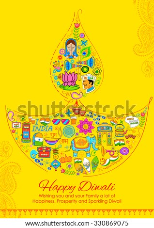 illustration of Happy Diwali background with India related things in diya shape - stock vector