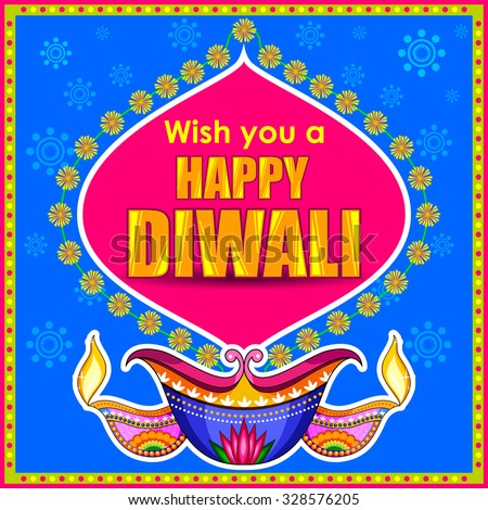 illustration of Happy Diwali promotion background with diya - stock vector
