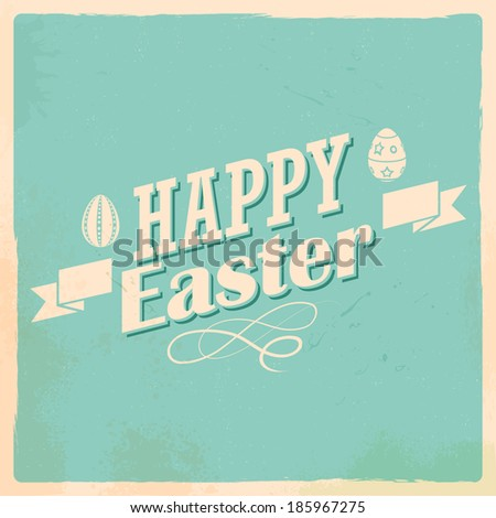 illustration of Happy Easter typography background - stock vector