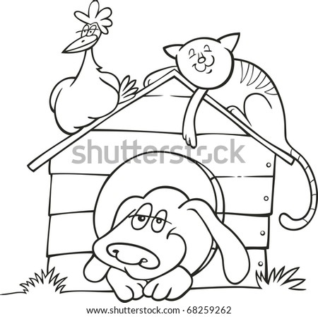 Illustration of Happy farm animals for coloring book - stock vector