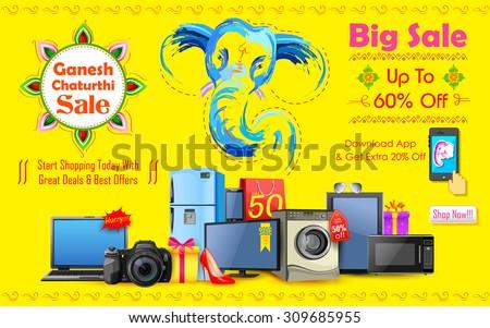 illustration of Happy Ganesh Chaturthi sale offer - stock vector