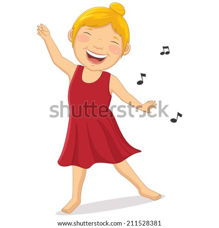 Illustration of Happy Girl Dancing - stock vector