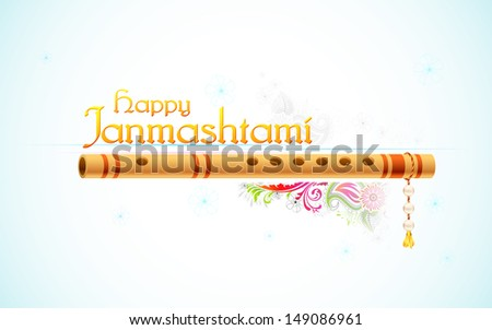 illustration of Happy Janmasthami background with colorful floral - stock vector