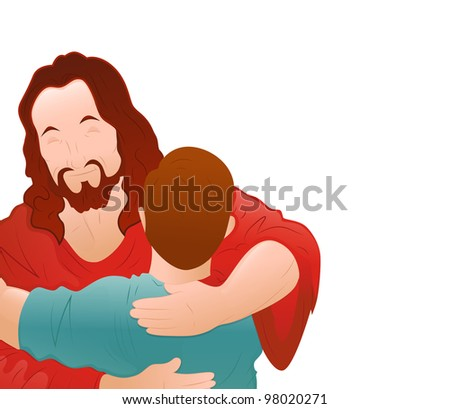 Illustration of Happy Jesus with Young Boy - stock vector