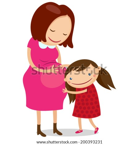 Illustration of happy kid girl hugging pregnant mother's belly  - stock vector