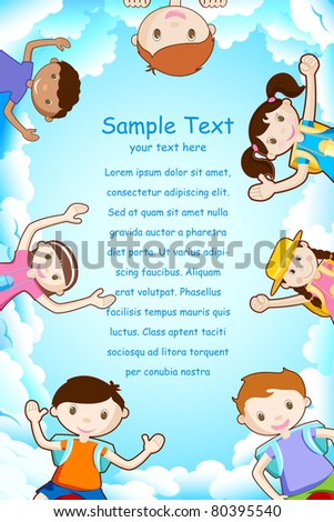 illustration of happy kids smiling on sky backdrop - stock vector