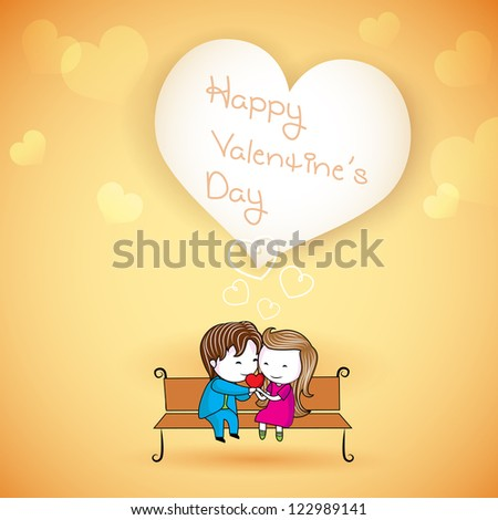 illustration of happy loving couple on love background - stock vector