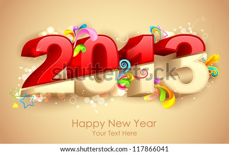 illustration of Happy new Year for 2013 with colorful swirl