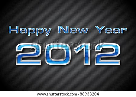 illustration of happy new year 2012 text in metallic look - stock vector