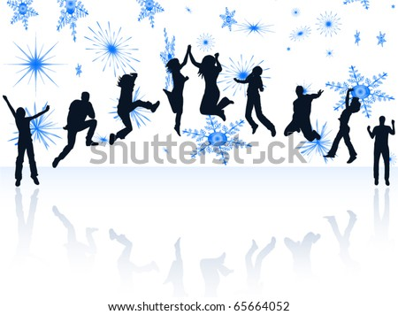 Illustration of happy people - stock vector