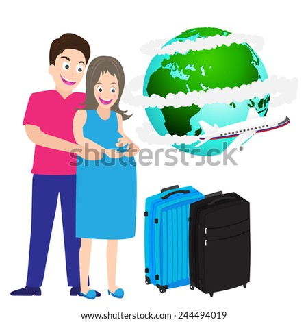 illustration of happy pregnant couple travel around world Vector. - stock vector