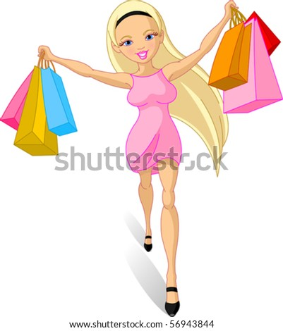 Illustration of happy Shopping girl - stock vector