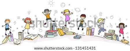 Illustration of Happy Stickman Kids Jumping with Books - stock vector