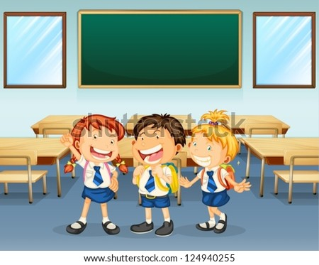 Illustration of happy students inside the classroom