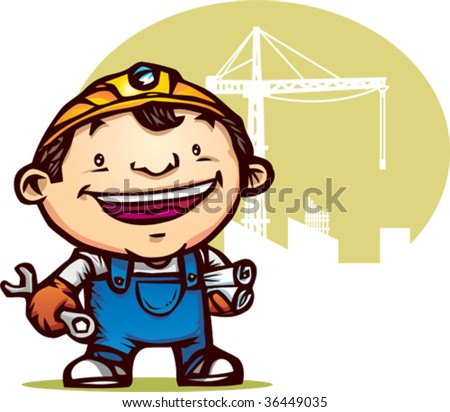 Illustration of happy worker holding tool and paper - stock vector