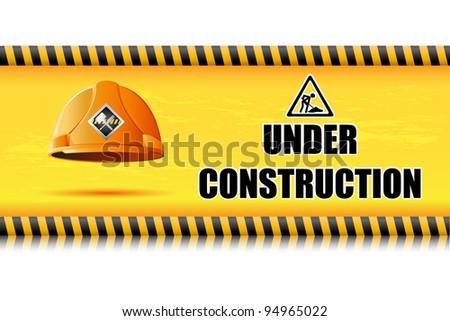 illustration of hard hat on under construction board - stock vector