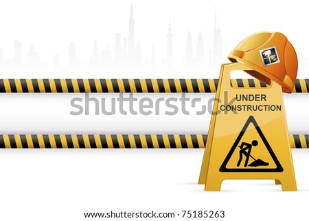 illustration of hard hat on under construction signboard on cityscape background - stock vector