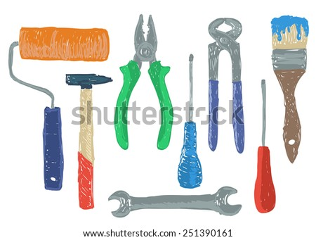 Illustration of hardware - hand drawn tools  - stock vector