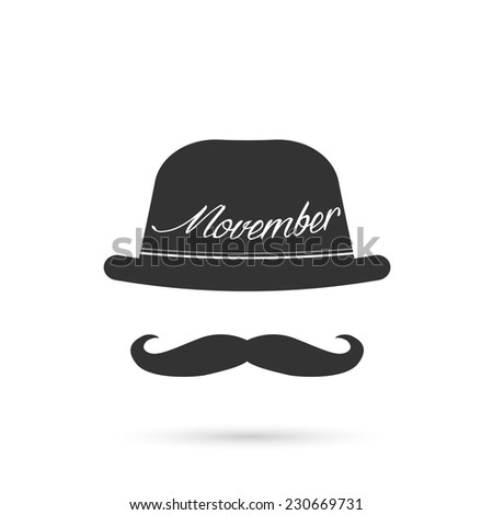Illustration of hat and mustache isolated on a white background. - stock vector