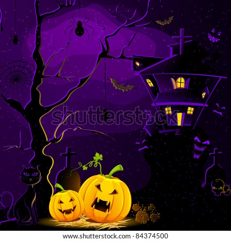 illustration of haunted house with halloween pumpkin in scary dark night - stock vector