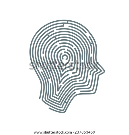Illustration of head with maze brain inside in line art style - stock vector