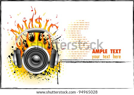 illustration of headphone and speaker with fire on music background - stock vector